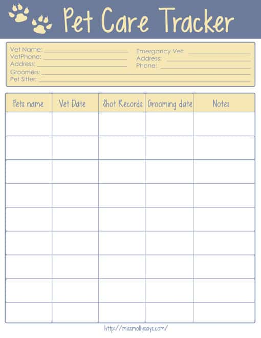 Printable Pet Care Tracker
