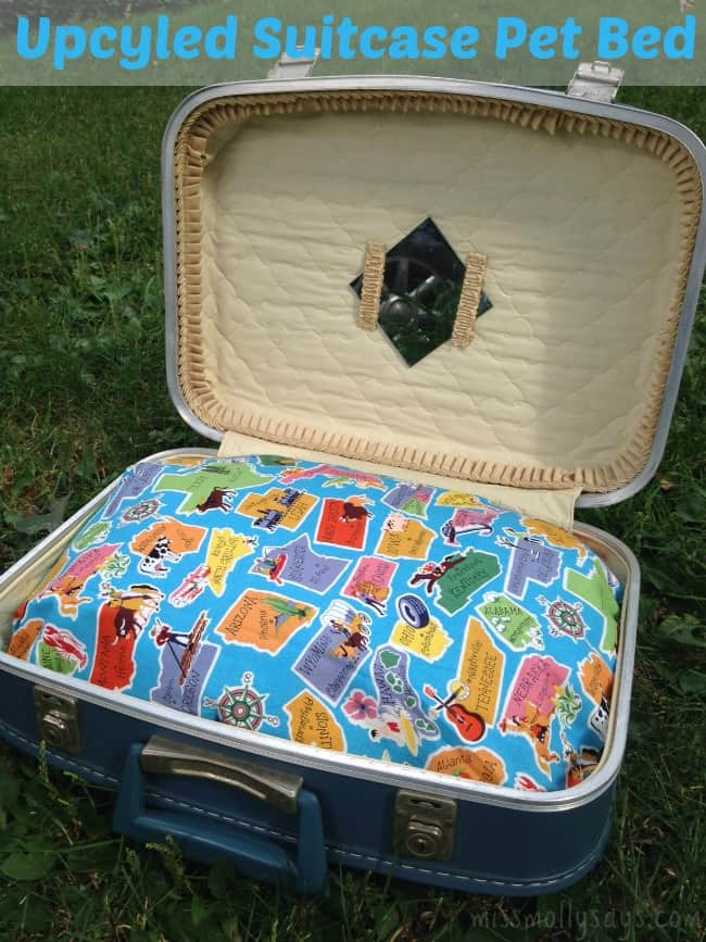 Easy No Sew Upcycled Suitcase Pet Bed