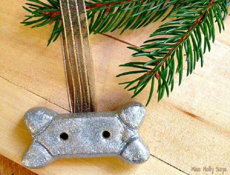 DIY Silver Dog Biscuit Christmas Tree Ornament