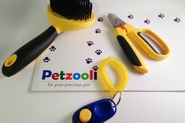 Petzooli Grooming Brush, Nail Clippers and Training Clicker for a Gorgeous Well Behaved Pet