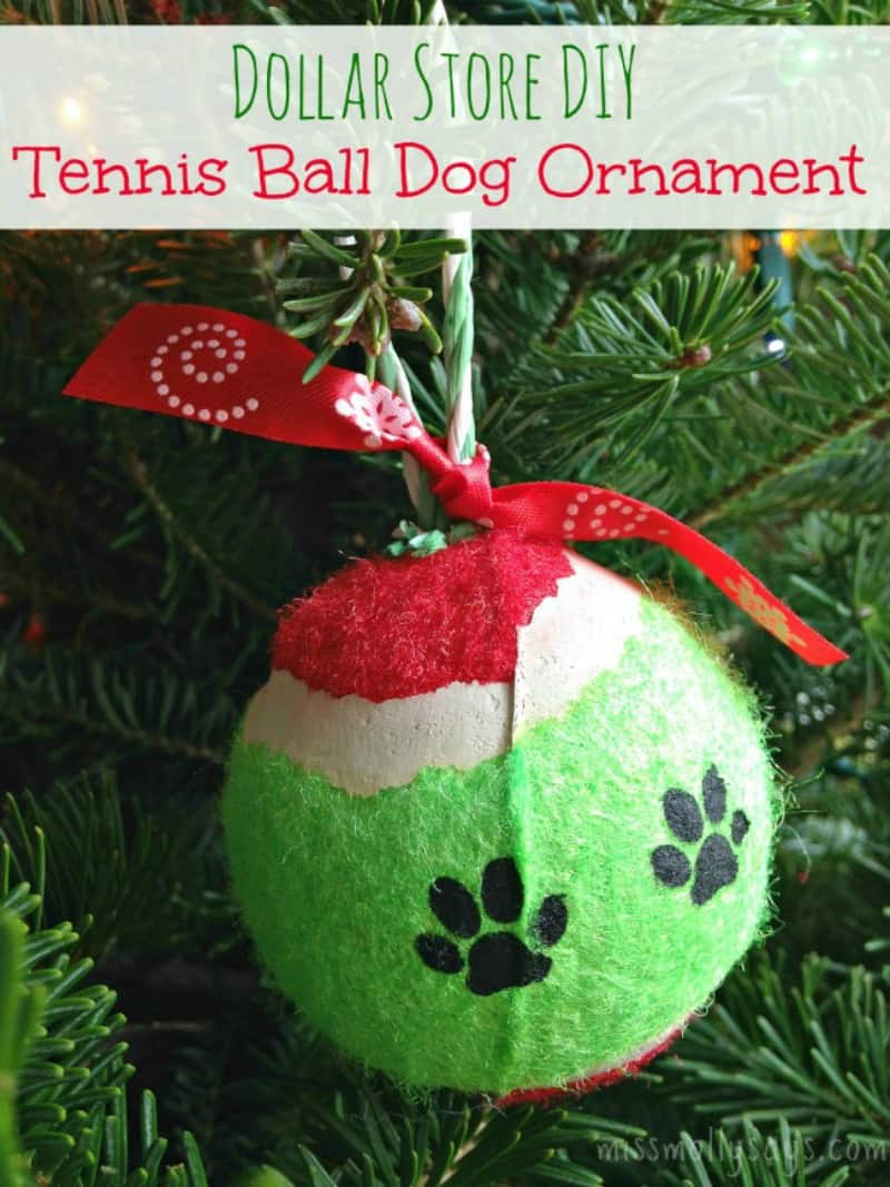 Dollar Store DIY Tennis Ball Dog Ornament