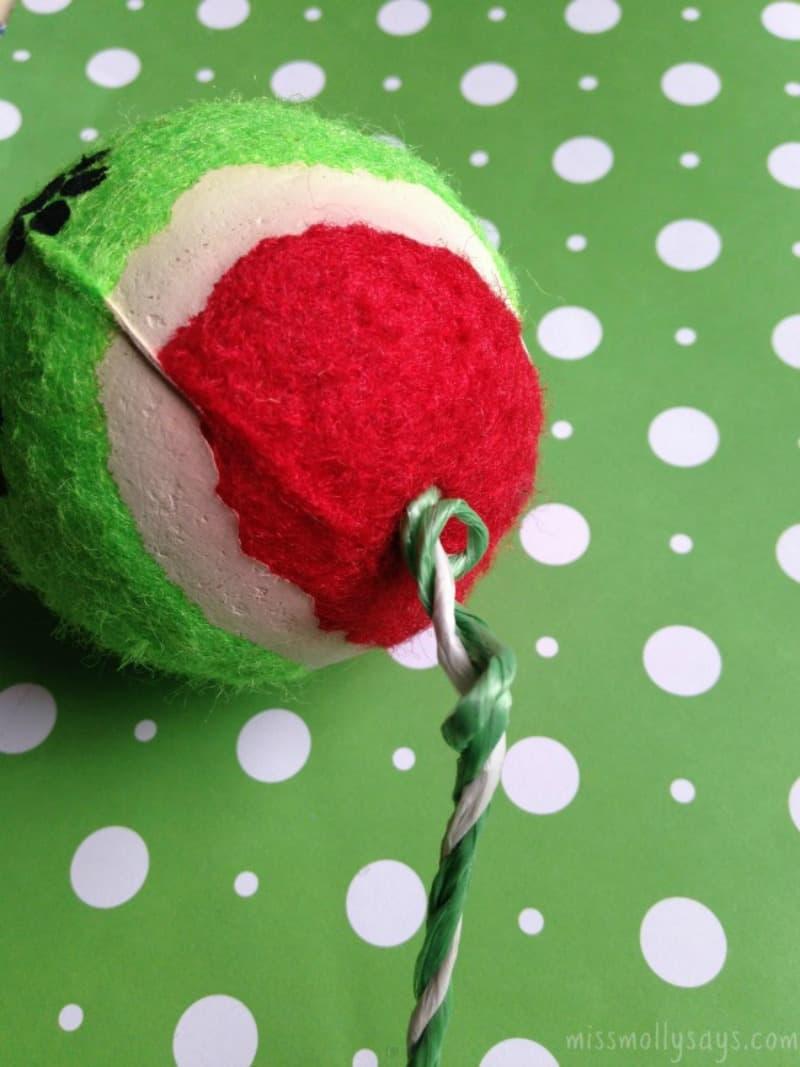 Dollar Store DIY Ball Dog Ornament process