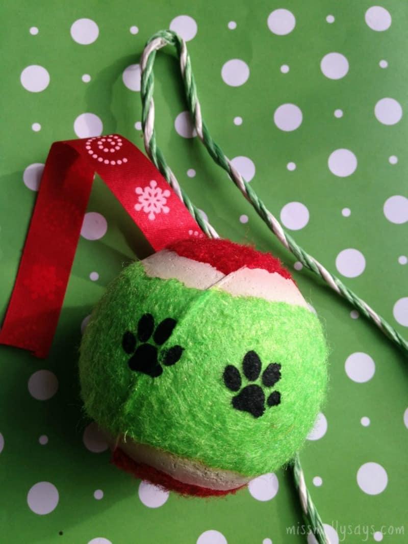 Dollar Store DIY Tennis Ball Dog Ornament supplies