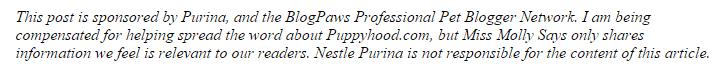Purina Puppyhood disclosure