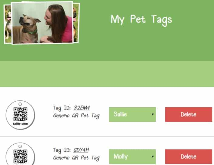 Tail Trackers - Tags page