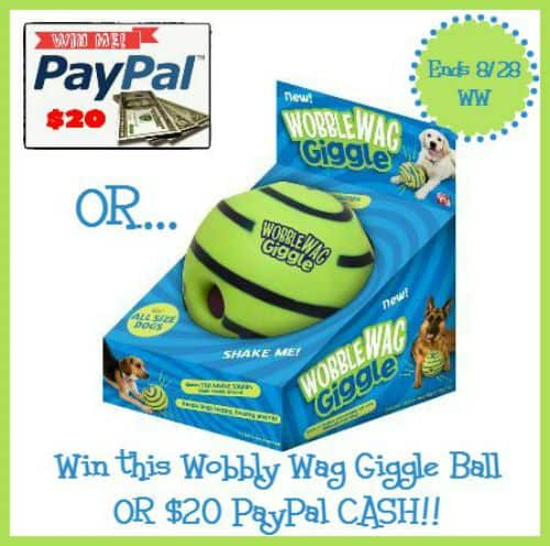 Enter to #win a Fun Wobble Wag Giggle Ball OR $20 Paypal CASH!