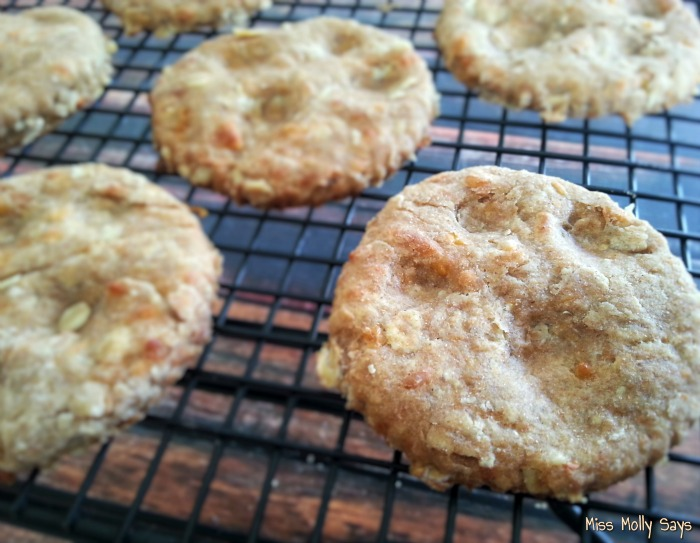 Homemade Apple Cheddar Dog Biscuits cooling rack