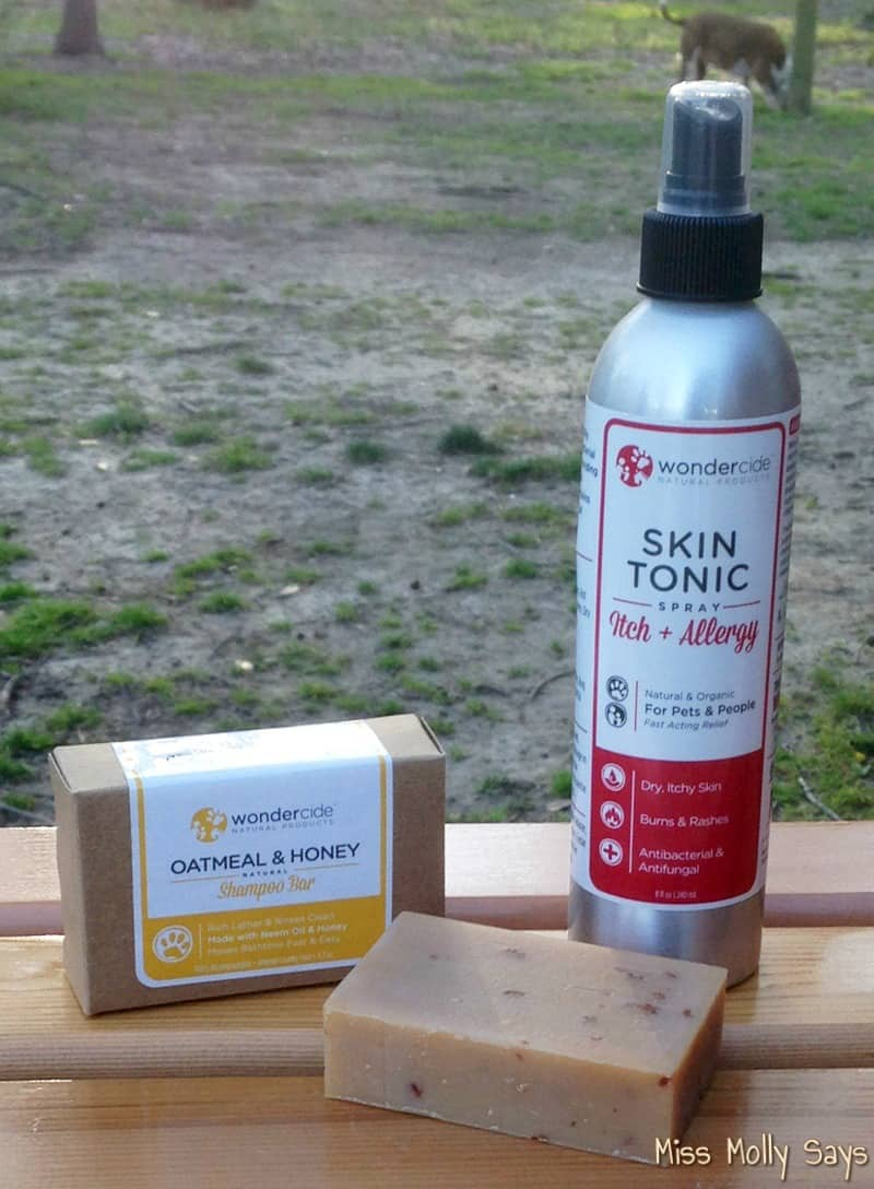 Wondercide Natural Skin Tonic for pets and Oatmeal & Honey Shampoo Bar