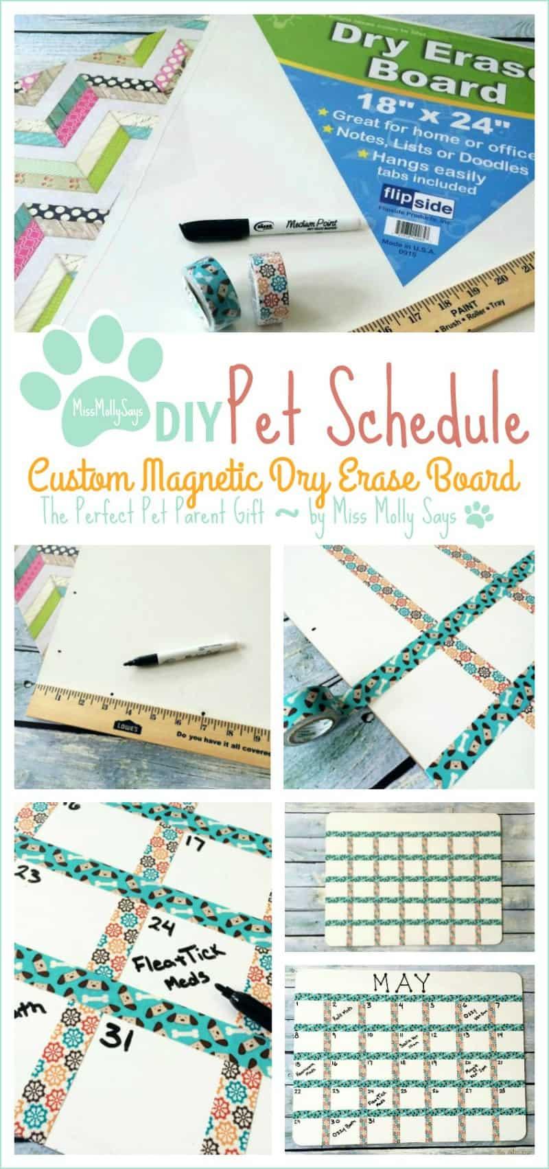 DIY Pet Schedule Custom Magnetic Dry Erase Board