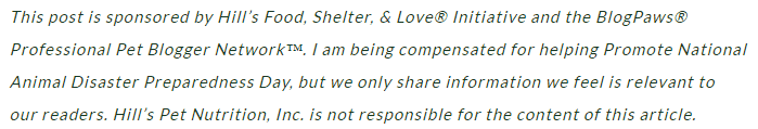 Hill's Food, Shelter, & Love® disclosure