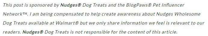 Nudges Dog Treats disclosure