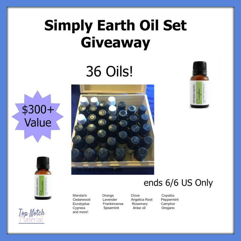 #Win a Simply Earth Oil Set (36 oils - $300+ value)! - ends 6/6 US Only