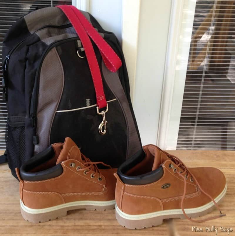 Lugz Drifter LX boots and backpack