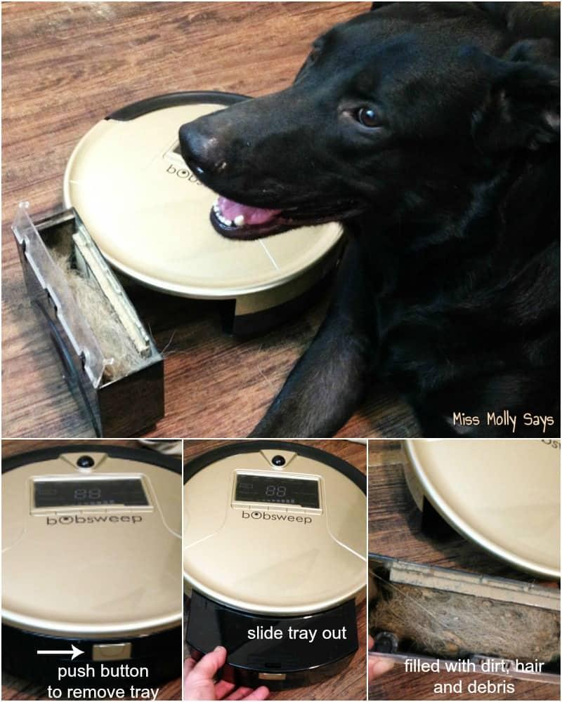 bObsweep PetHair - empting the dust bin