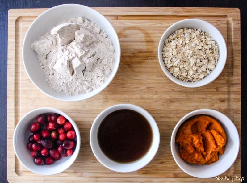 Homemade Cranberry & Pumpkin Dog Treats ingredients