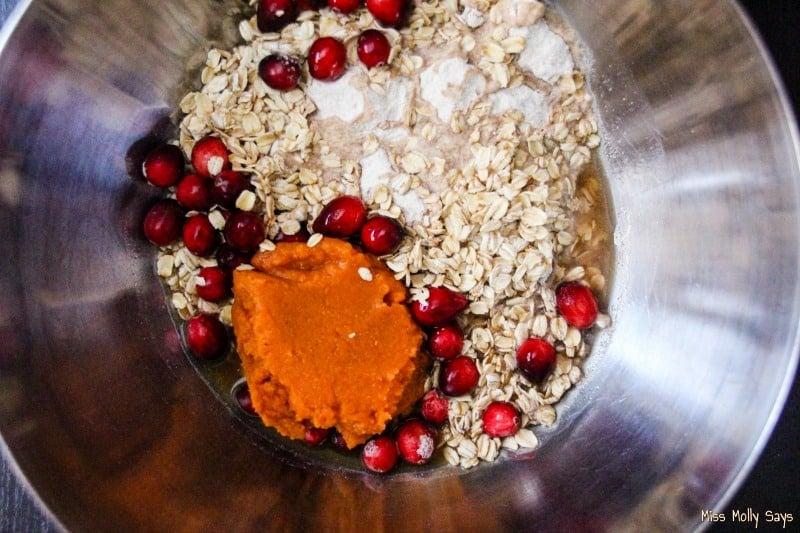 Homemade Cranberry & Pumpkin Dog Treats process