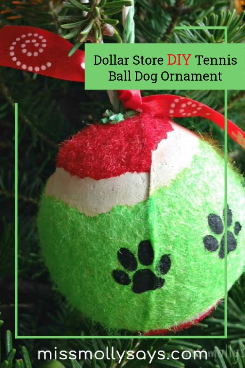 Dollar Store DIY Tennis Ball Dog Ornament