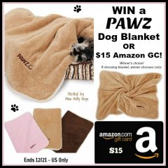 #Win a PAWZ Dog Blanket OR $15 Amazon GC – your choice! – ends 12/21 US Only