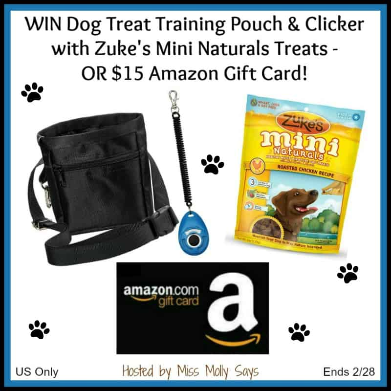 Win Dog Treat Training Pouch & Clicker with Zuke's Mini Naturals Treats OR $15 Amazon GC! US Only Ends 2/28