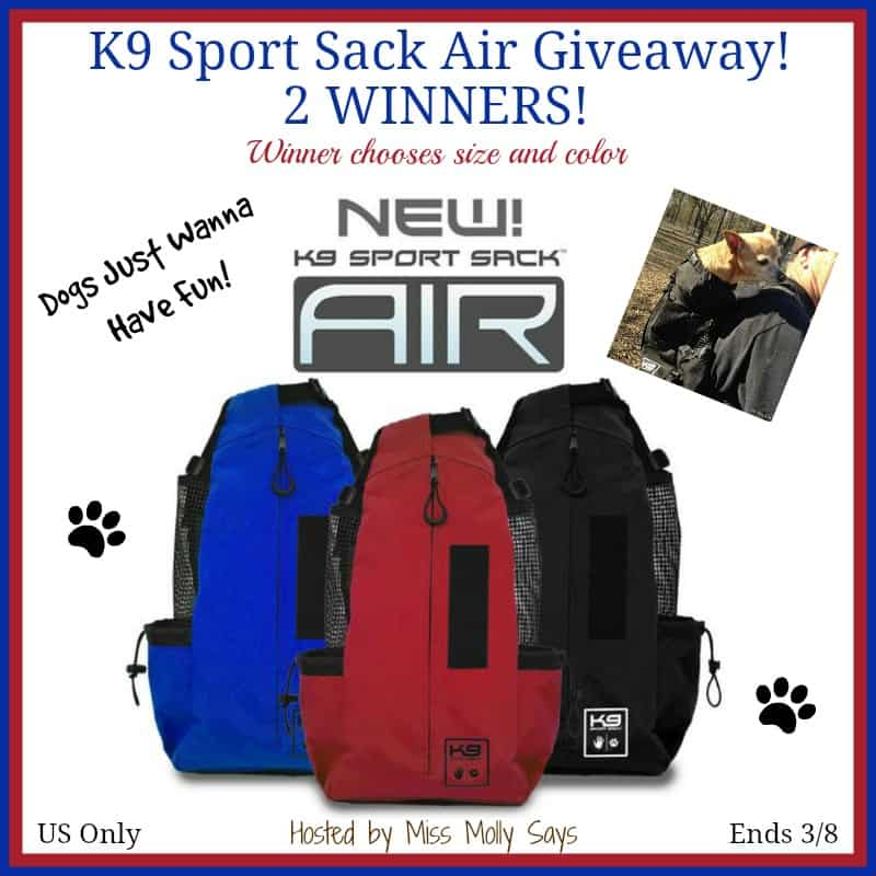 Win a K9 Sport Sack Air in your choice of size and color! 2 WINNERS! US Only Ends 3/8 #K9SportSack