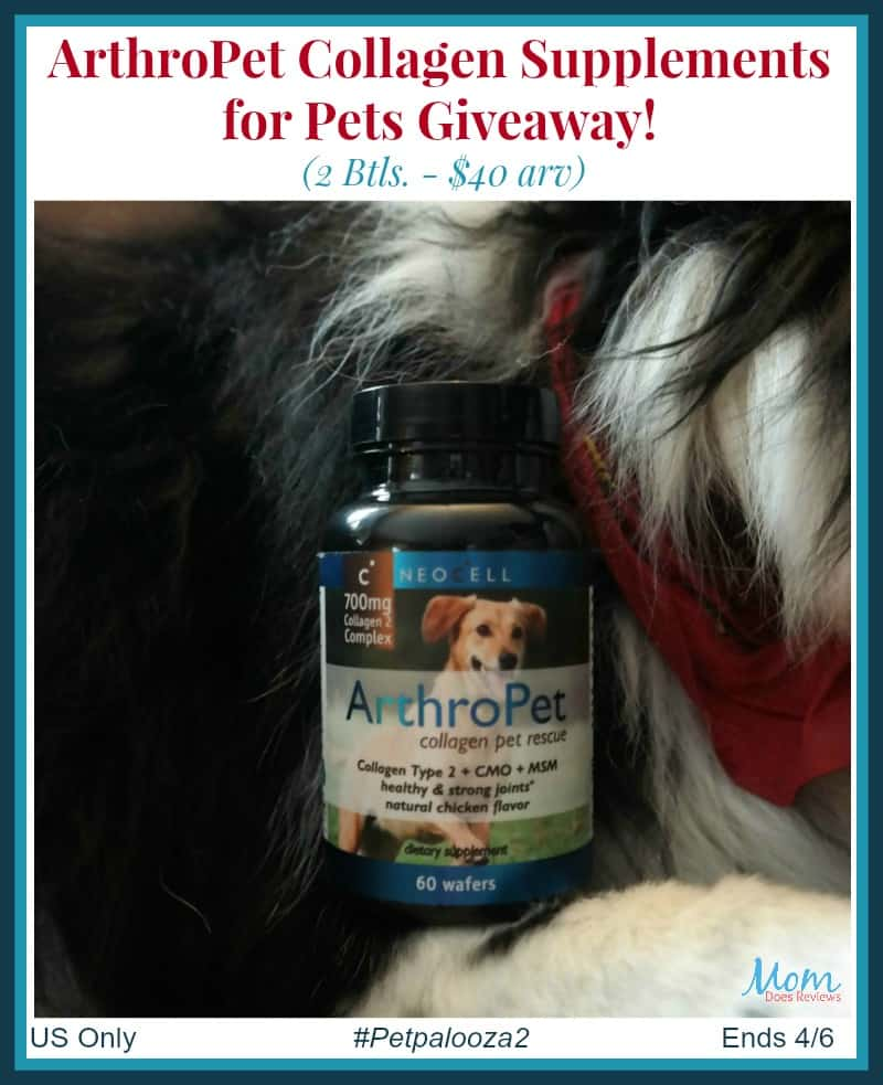 Win ArthroPet Collagen Supplements (2 Btls. – $40 arv) US Only Ends 4/5 #Petpalooza2