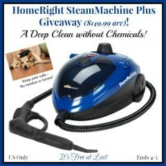 Win a HomeRight SteamMachine Plus ($149.99 arv)! Pet-Friendly Chemical-Free Cleaning! US Only Ends 4/3