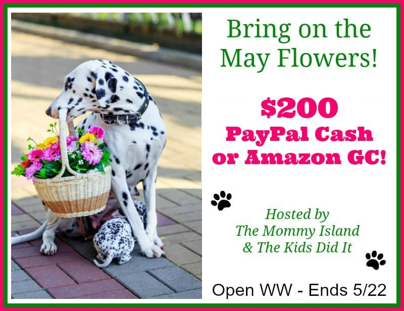 Win $200 PayPal Cash or Amazon E-Gift Card in our May Flowers Giveaway! Open WW Ends 5/22