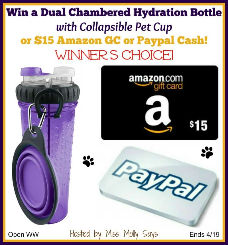 Dual Chambered Hydration Water Bottle with Pet Cup giveaway button