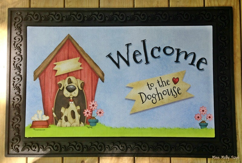 "Flagology Doormat ""Welcome to the Doghouse"" is THE Perfect Mat for us! #Petpalooza2"