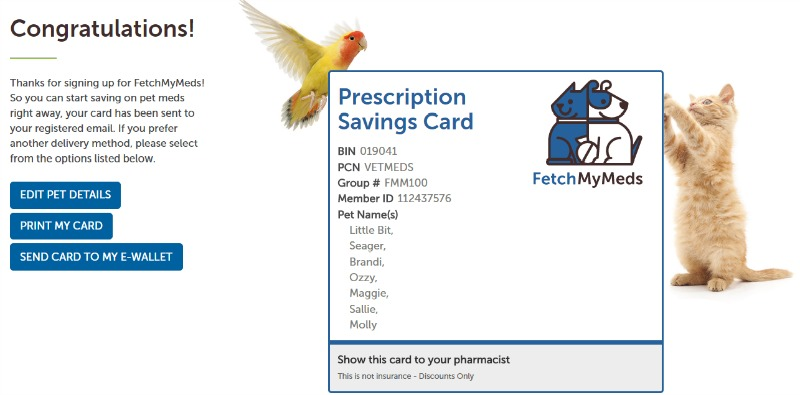 Fetch My Meds Pet Prescription Discount Card #fetchmymeds