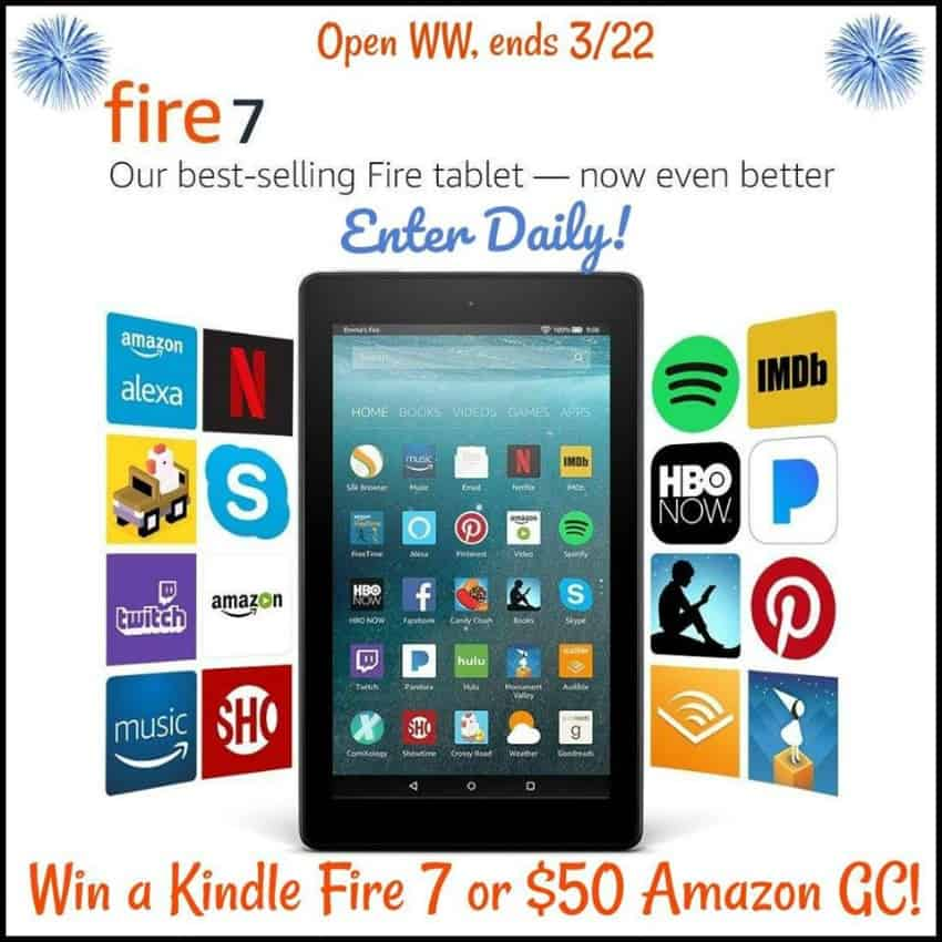 Win a Kindle Fire HD 7 Tablet equipped with Alexa or $50 Amazon GC!