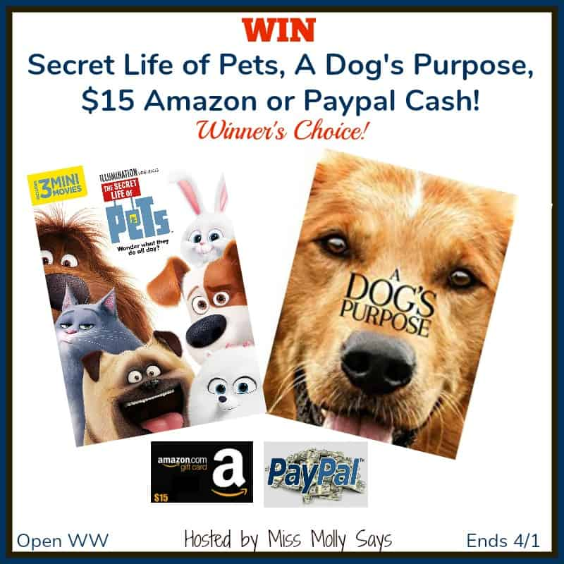 Win Secret Life of Pets, A Dog's Purpose, $15 Amazon GC or Paypal Cash! #MovieMadnessHop
