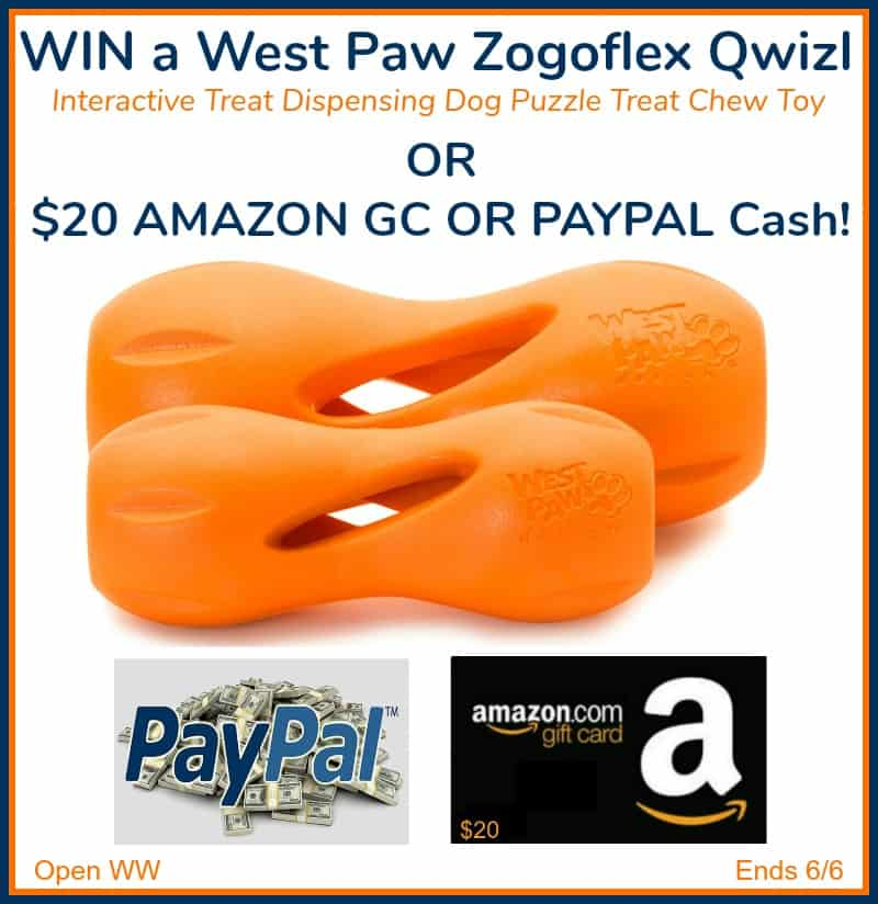 Win a West Paw Zogoflex Qwizl Interactive Treat Dispensing Chew Toy OR $20 Amazon OR Paypal Cash