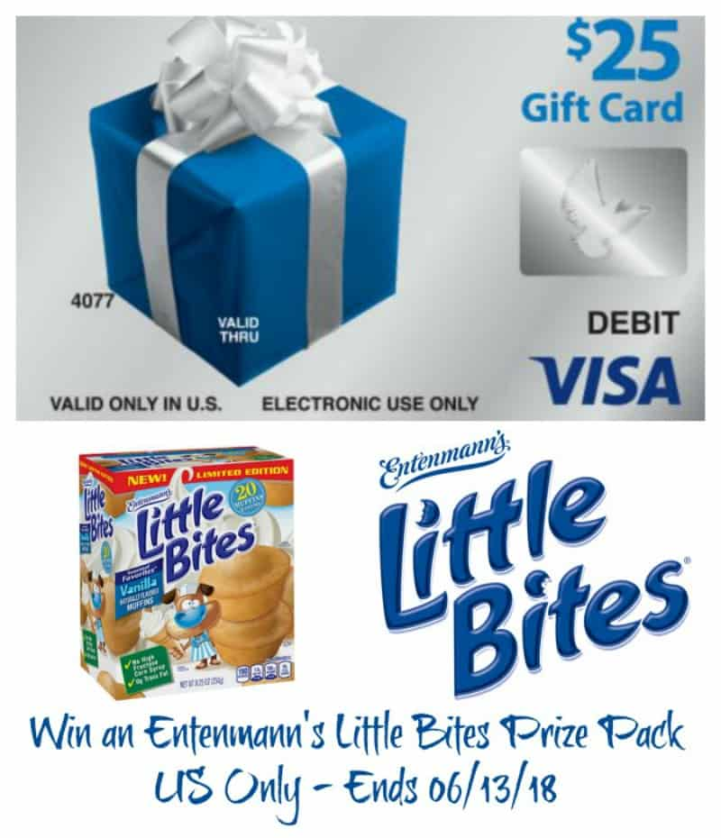 Win a $25 Visa digital gift card and (3) coupons for $5.00 off the purchase of any Entenmann's® Little Bites®! US Only Ends 6/13