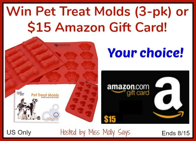 Pet Treat Molds or $15 Amazon Gift Card giveaway button