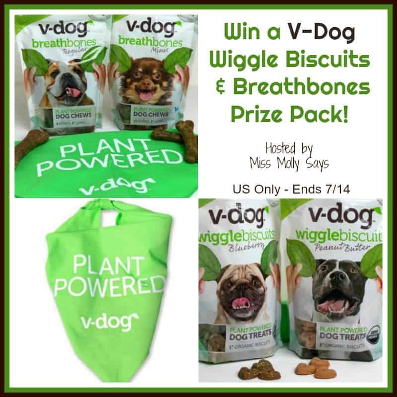 Win a V-Dog Wiggle Biscuits & Breathbones Prize Pack!