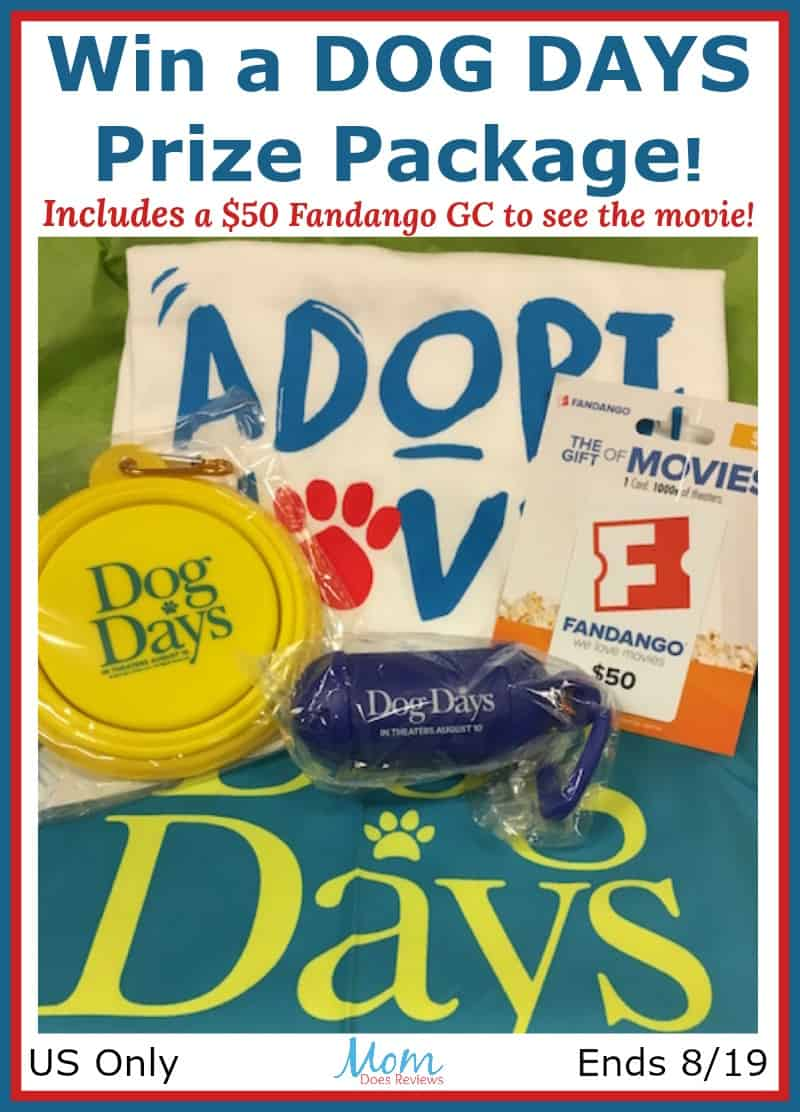 Win a DOG DAYS Prize Package including $50 Fandango Gift Card to see the movie! #DogDays