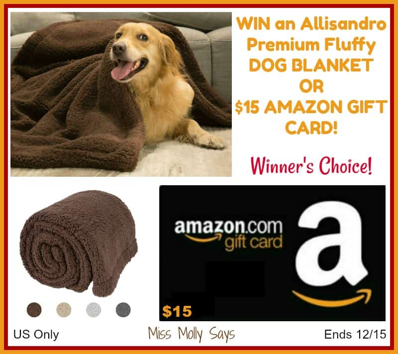 Allisandro Premium Fluffy Dog Blanket or $15 Amazon GC Giveaway