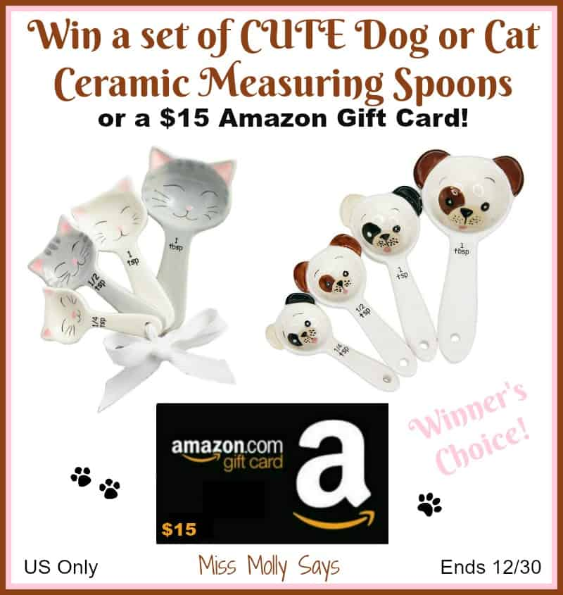 CUTE Dog or Cat Shaped Ceramic Measuring Spoons OR $15 Amazon Gift Card giveaway button