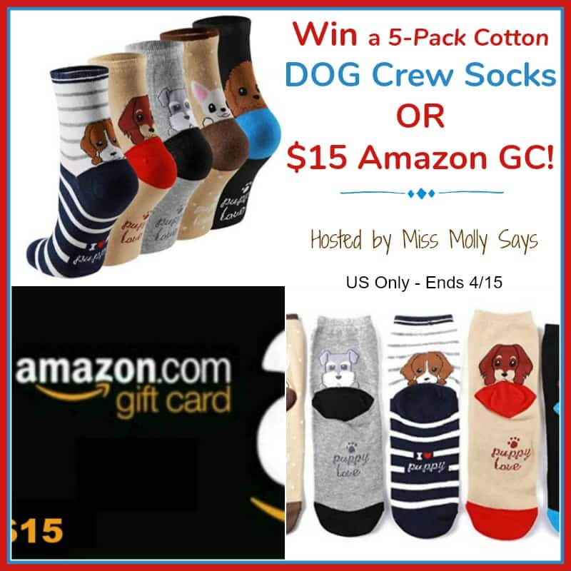 """Enter for a chance to #Win a 5-Pack Cotton Dog Crew Socks OR $15 Amazon GC in our """"Worth Melting For"""" Giveaway Hop!"""