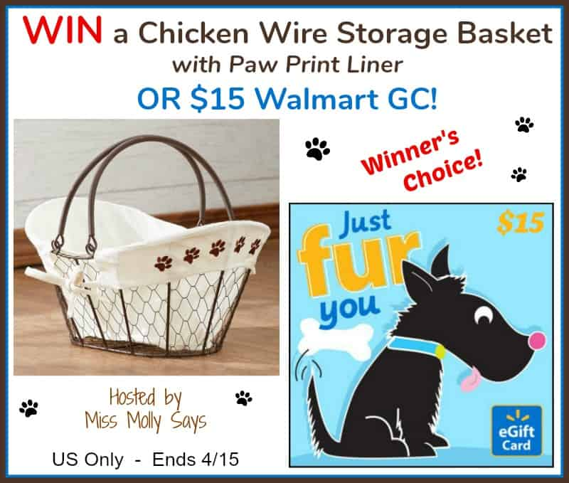 """#Win a Chicken Wire Storage Basket with Paw Print Liner OR $15 Walmart GC in our """"Hoppy Easter"""" Giveaway Hop!"""