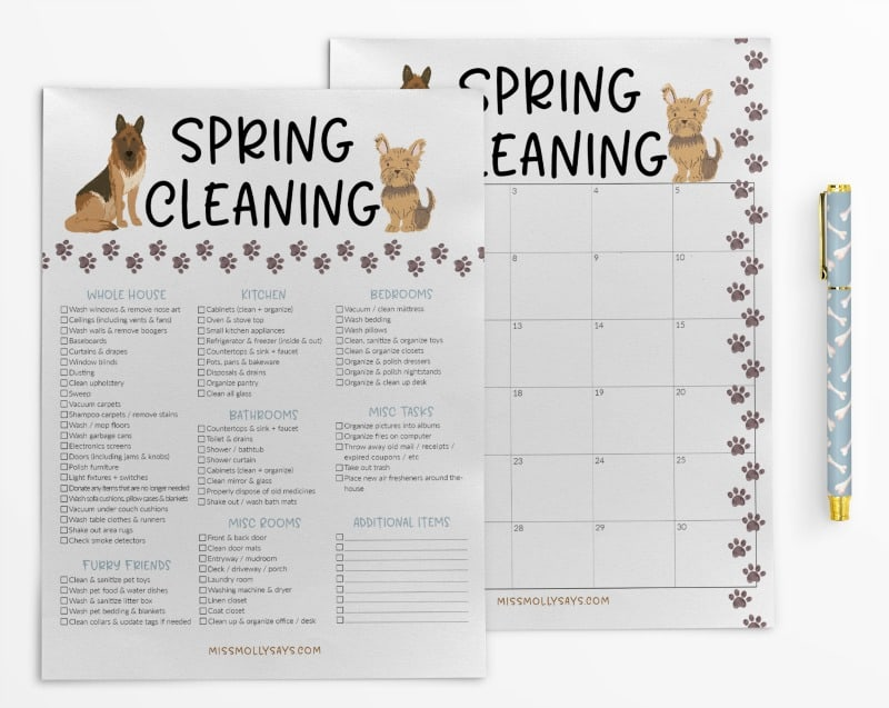 Spring Cleaning Checklist and Calendar