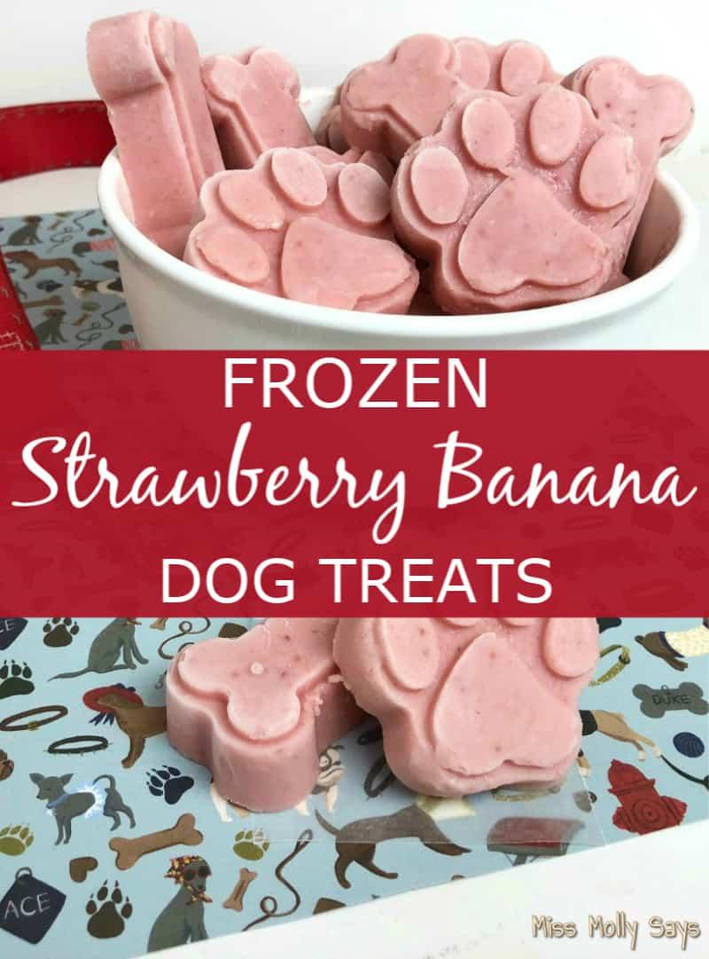 Homemade Frozen Strawberry Banana Dog Treats
