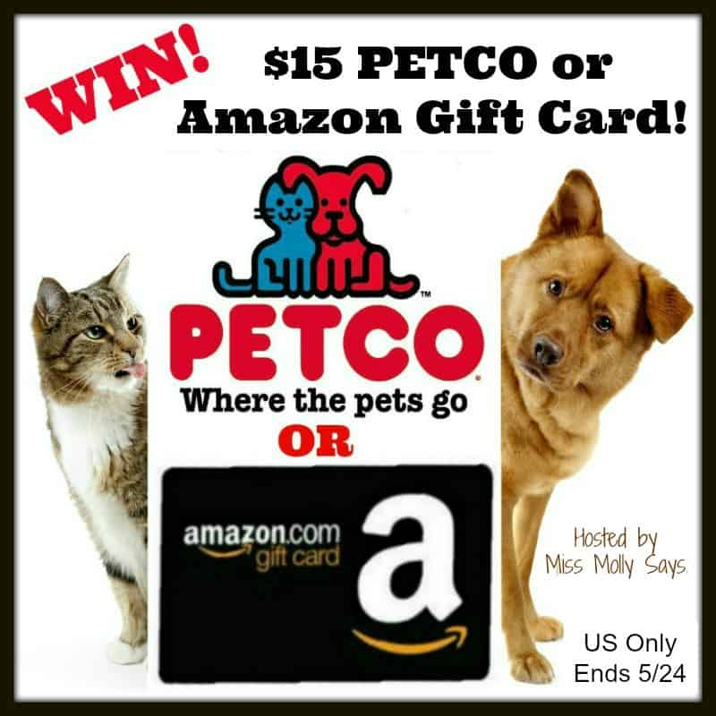 Enter for a chance to #win a $15 Petco or Amazon Gift Card! Winner's Choice!
