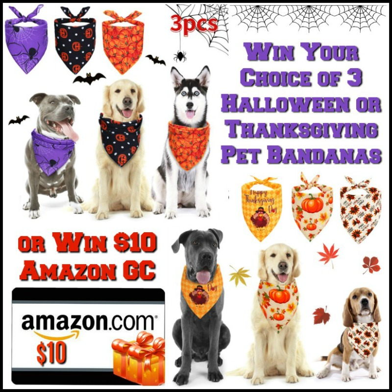 FLASH GIVEAWAY! Enter for a chance to #win Frienda 3 Pieces Halloween Dog Bandanas OR Thanksgiving Bandanas OR $10 Amazon GC!