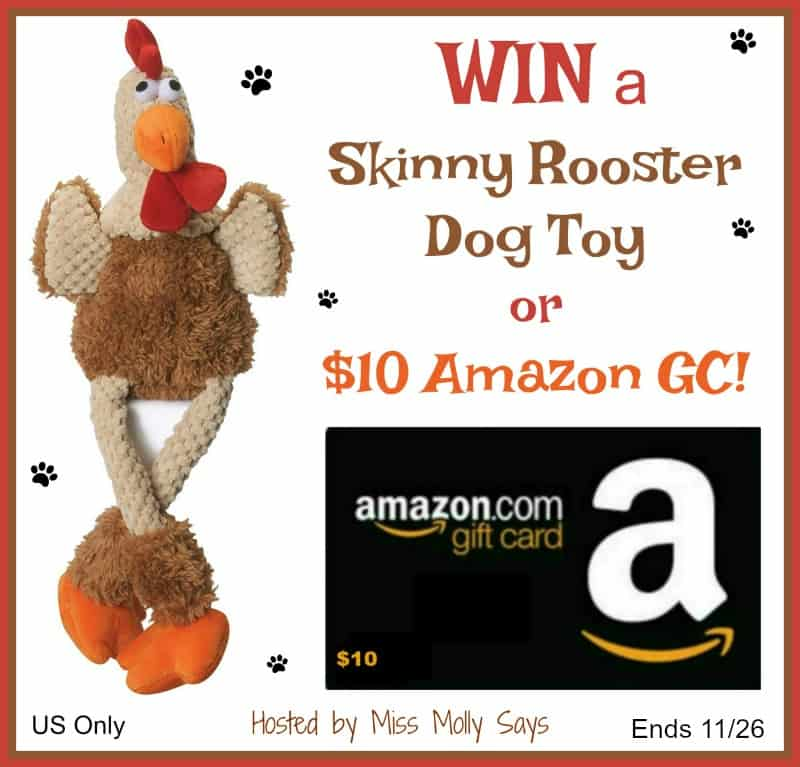 Enter for a chance to #WIN a Skinny Rooster Dog Toy OR $10 Amazon Gift Card!