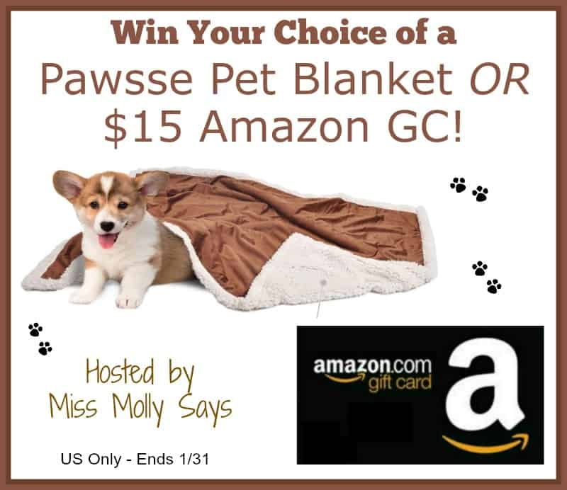 Enter for a chance to win a Pawsse Dog Blanket or $15 Amazon GC in our 'Welcome Winter' Giveaway Hop!