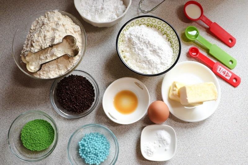 April Fools Dog Treat Cookies ingredients and supplies