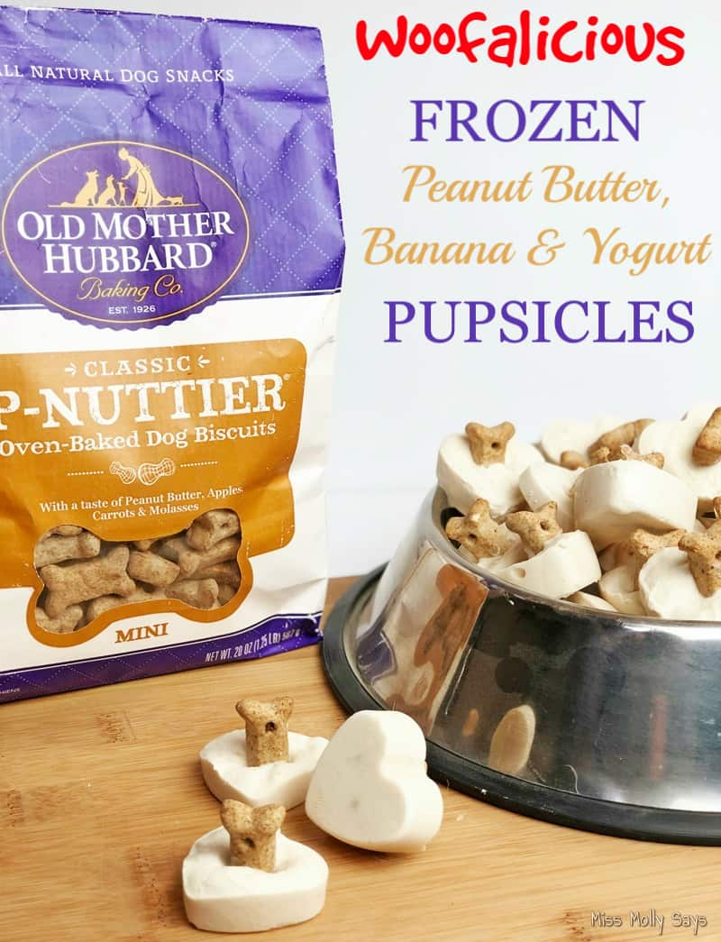 Frozen Peanut Butter, Banana & Yogurt Pupsicles featuring Old Mother Hubbard Dog Treats