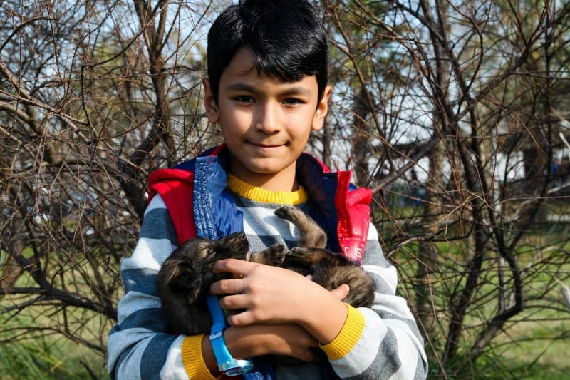 boy holding a small puppy